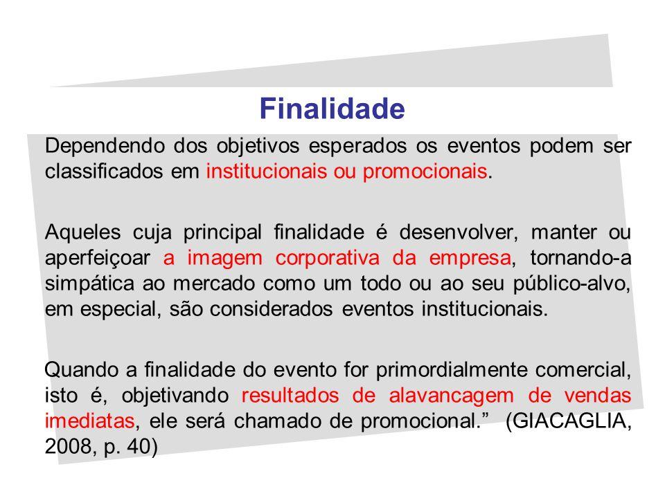 Finalidade Dependendo dos objetivos esperados os eventos podem ser classificados em institucionais ou promocionais. Aqueles cuja principal finalidade