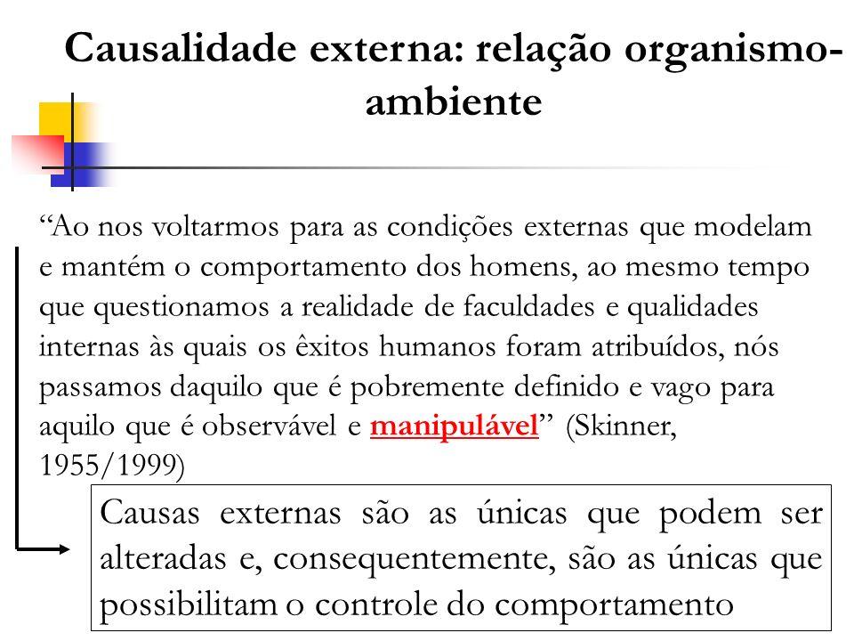 Causalidade externa: relação organismo- ambiente Ao nos voltarmos para as condições externas que modelam e mantém o comportamento dos homens, ao mesmo