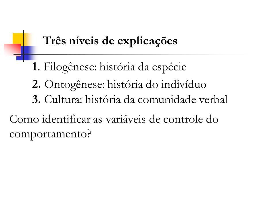 Três níveis de explicações 1. Filogênese: história da espécie 2. Ontogênese: história do indivíduo 3. Cultura: história da comunidade verbal Como iden