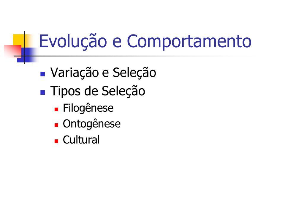 Evolução e Comportamento Variação e Seleção Tipos de Seleção Filogênese Ontogênese Cultural