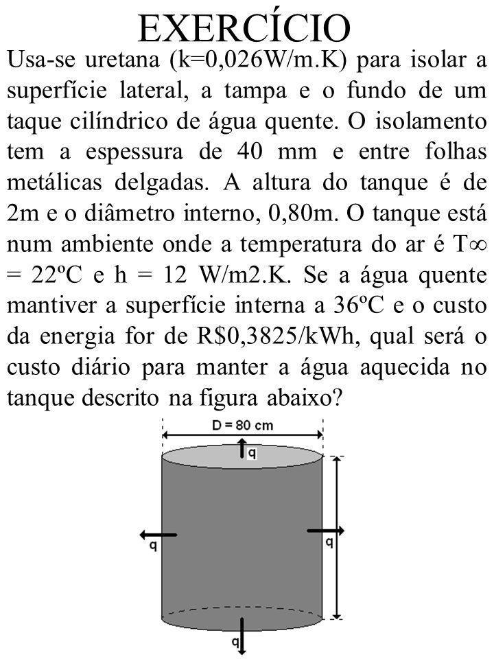EXERCÍCIO Usa-se uretana (k=0,026W/m.K) para isolar a superfície lateral, a tampa e o fundo de um taque cilíndrico de água quente. O isolamento tem a