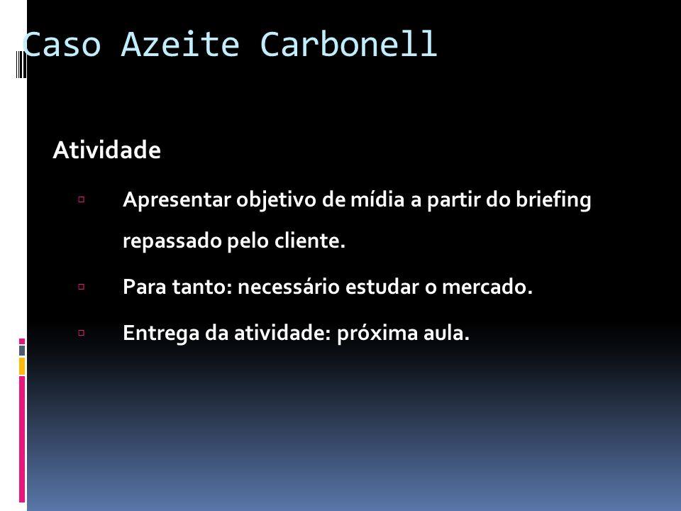 Caso Azeite Carbonell Atividade Apresentar objetivo de mídia a partir do briefing repassado pelo cliente. Para tanto: necessário estudar o mercado. En