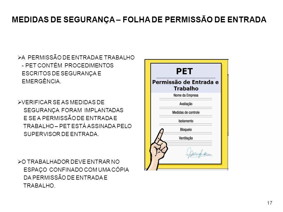 MEDIDAS DE SEGURANÇA – FOLHA DE PERMISSÃO DE ENTRADA A PERMISSÃO DE ENTRADA E TRABALHO - PET CONTÉM PROCEDIMENTOS ESCRITOS DE SEGURANÇA E EMERGÊNCIA.