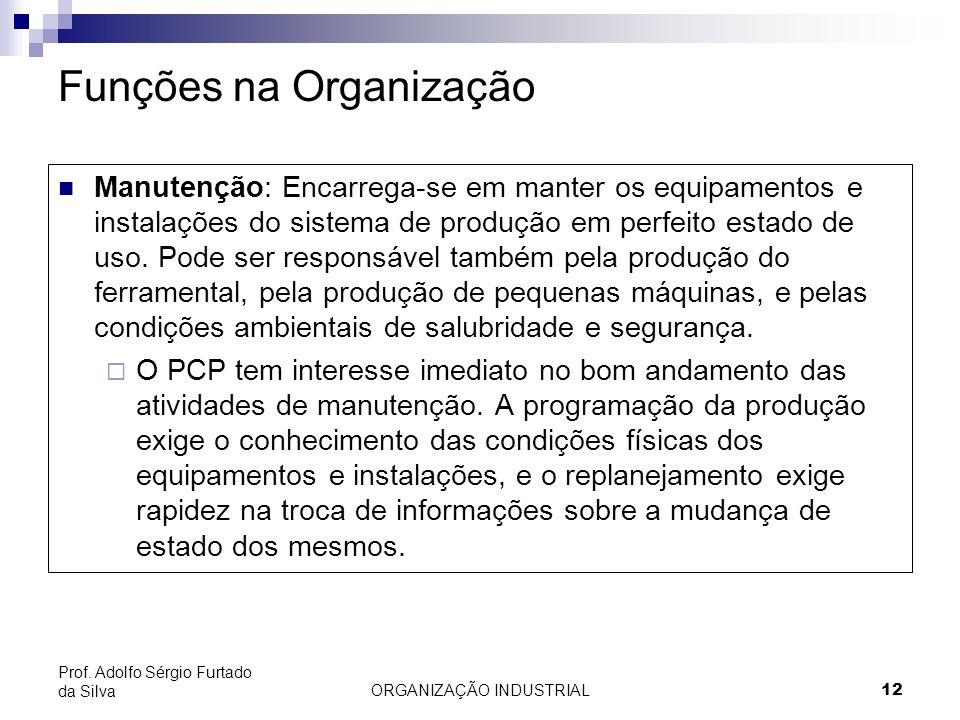 ORGANIZAÇÃO INDUSTRIAL 12 Prof. Adolfo Sérgio Furtado da Silva Funções na Organização Manutenção: Encarrega-se em manter os equipamentos e instalações