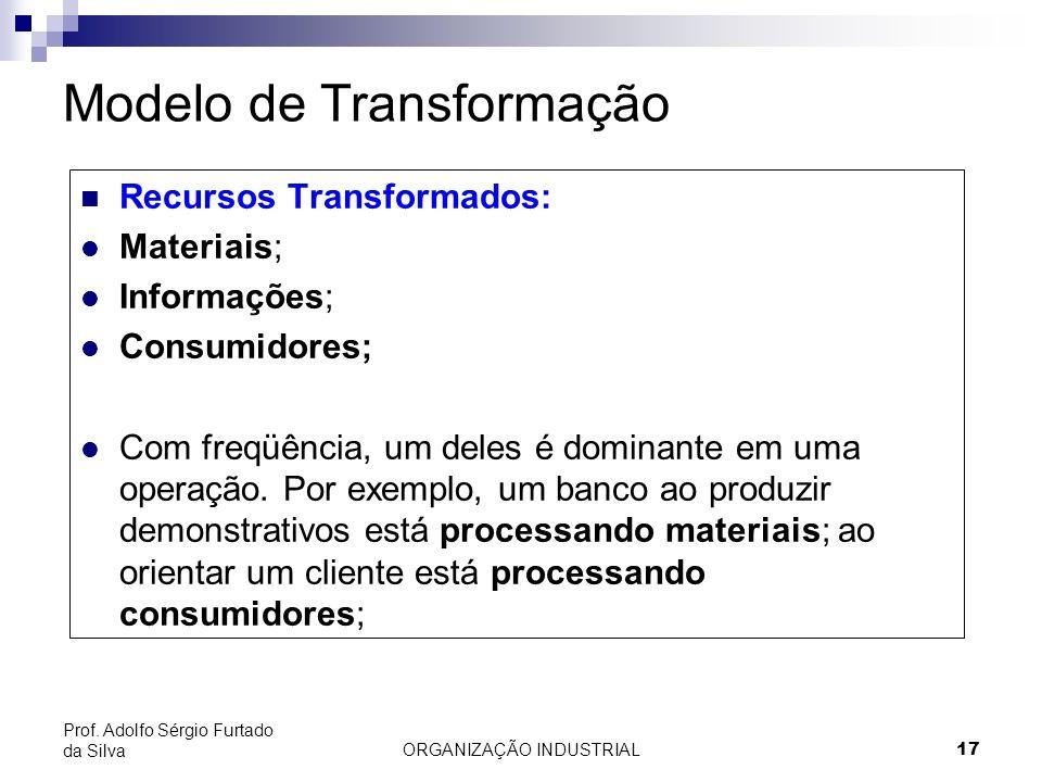ORGANIZAÇÃO INDUSTRIAL 17 Prof. Adolfo Sérgio Furtado da Silva Modelo de Transformação Recursos Transformados: l Materiais; l Informações; l Consumido