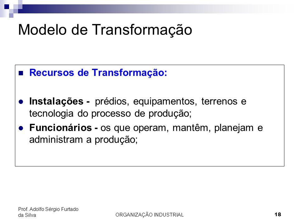 ORGANIZAÇÃO INDUSTRIAL 18 Prof. Adolfo Sérgio Furtado da Silva Modelo de Transformação Recursos de Transformação: l Instalações - prédios, equipamento
