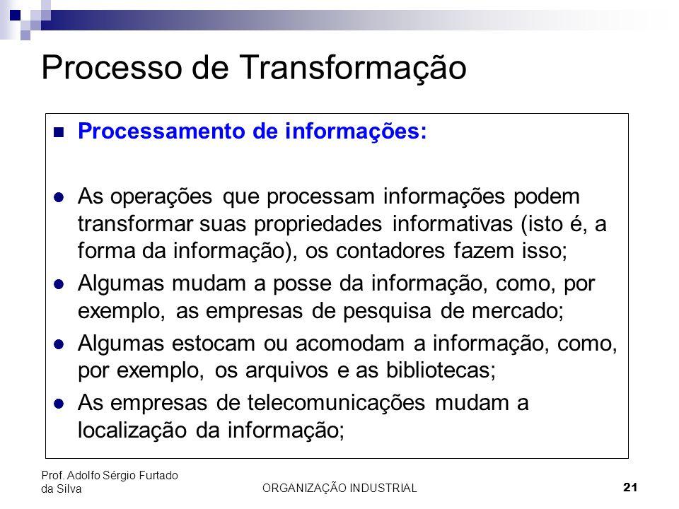 ORGANIZAÇÃO INDUSTRIAL 21 Prof. Adolfo Sérgio Furtado da Silva Processo de Transformação Processamento de informações: l As operações que processam in