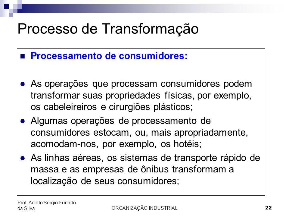 ORGANIZAÇÃO INDUSTRIAL 22 Prof. Adolfo Sérgio Furtado da Silva Processo de Transformação Processamento de consumidores: l As operações que processam c