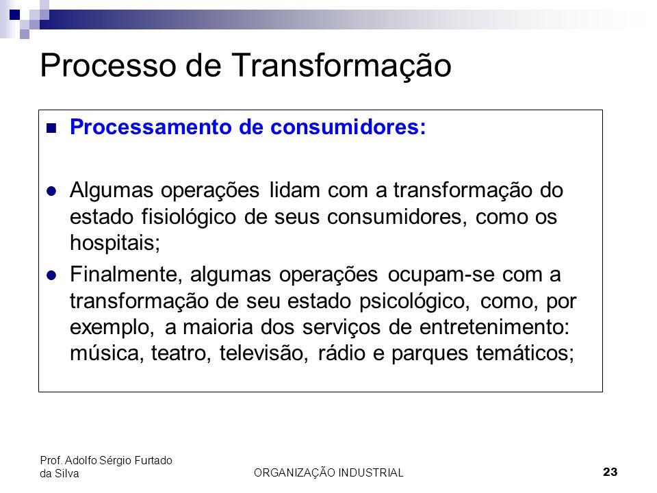 ORGANIZAÇÃO INDUSTRIAL 23 Prof. Adolfo Sérgio Furtado da Silva Processo de Transformação Processamento de consumidores: l Algumas operações lidam com