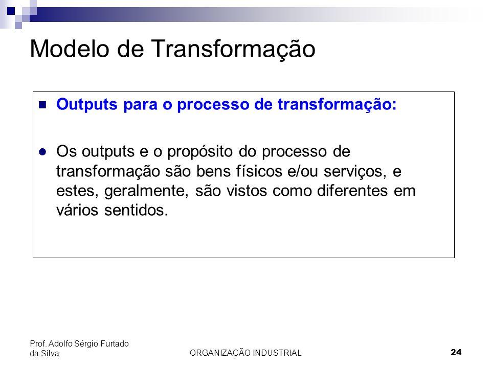 ORGANIZAÇÃO INDUSTRIAL 24 Prof. Adolfo Sérgio Furtado da Silva Modelo de Transformação Outputs para o processo de transformação: l Os outputs e o prop