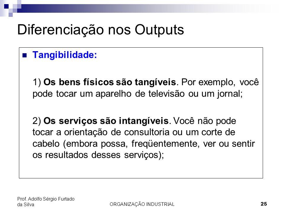 ORGANIZAÇÃO INDUSTRIAL 25 Prof. Adolfo Sérgio Furtado da Silva Diferenciação nos Outputs Tangibilidade: 1) Os bens físicos são tangíveis. Por exemplo,