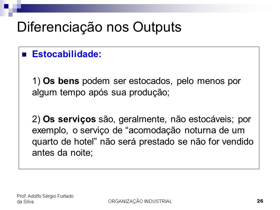 ORGANIZAÇÃO INDUSTRIAL 26 Prof. Adolfo Sérgio Furtado da Silva Diferenciação nos Outputs Estocabilidade: 1) Os bens podem ser estocados, pelo menos po