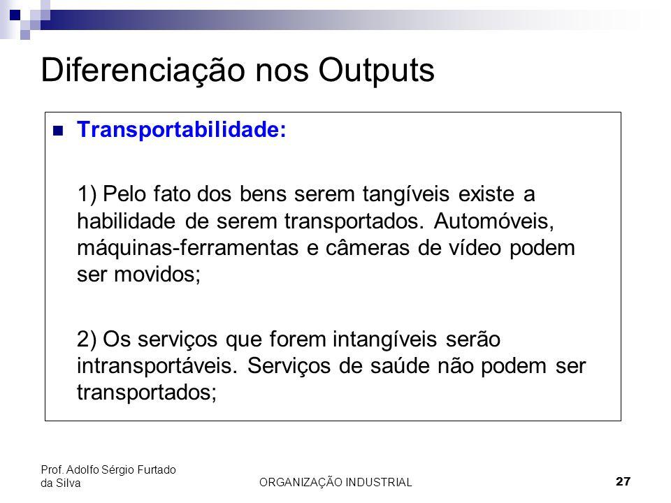 ORGANIZAÇÃO INDUSTRIAL 27 Prof. Adolfo Sérgio Furtado da Silva Diferenciação nos Outputs Transportabilidade: 1) Pelo fato dos bens serem tangíveis exi
