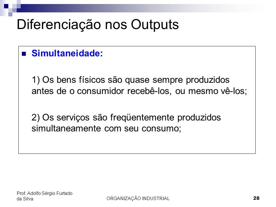 ORGANIZAÇÃO INDUSTRIAL 28 Prof. Adolfo Sérgio Furtado da Silva Diferenciação nos Outputs Simultaneidade: 1) Os bens físicos são quase sempre produzido