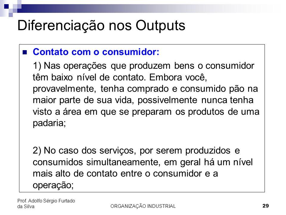 ORGANIZAÇÃO INDUSTRIAL 29 Prof. Adolfo Sérgio Furtado da Silva Diferenciação nos Outputs Contato com o consumidor: 1) Nas operações que produzem bens