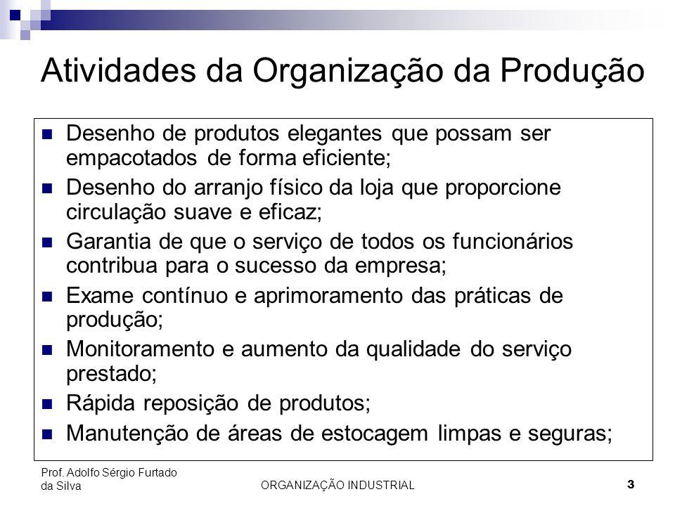 ORGANIZAÇÃO INDUSTRIAL 3 Prof. Adolfo Sérgio Furtado da Silva Atividades da Organização da Produção Desenho de produtos elegantes que possam ser empac