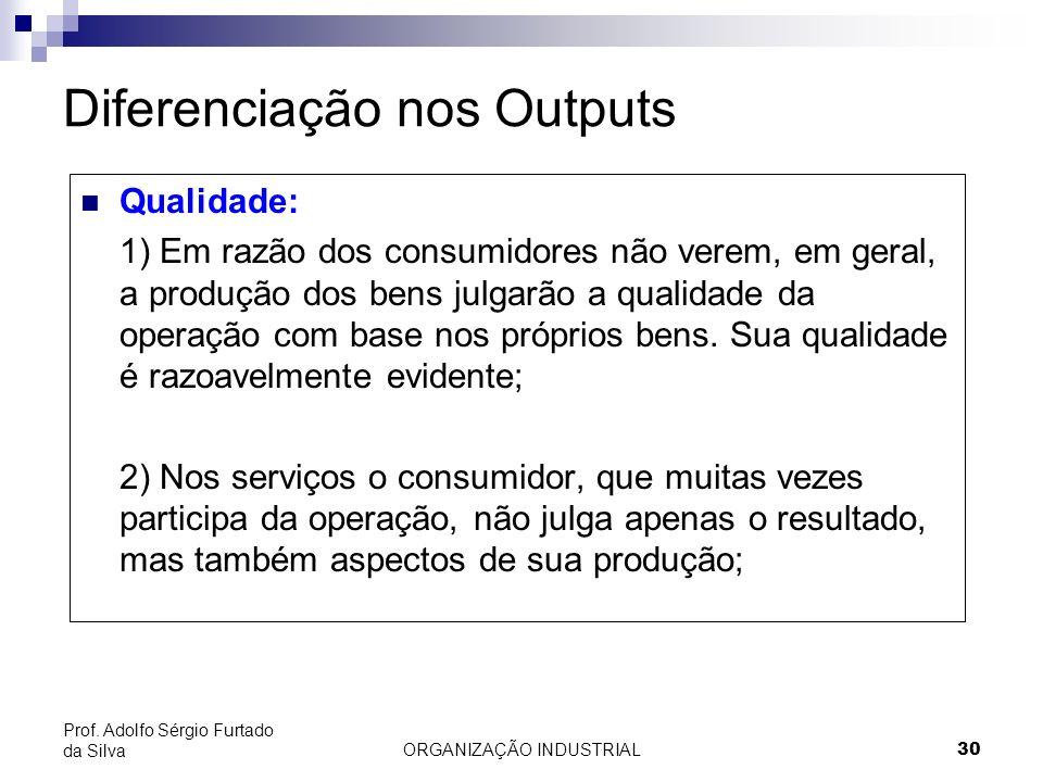 ORGANIZAÇÃO INDUSTRIAL 30 Prof. Adolfo Sérgio Furtado da Silva Diferenciação nos Outputs Qualidade: 1) Em razão dos consumidores não verem, em geral,