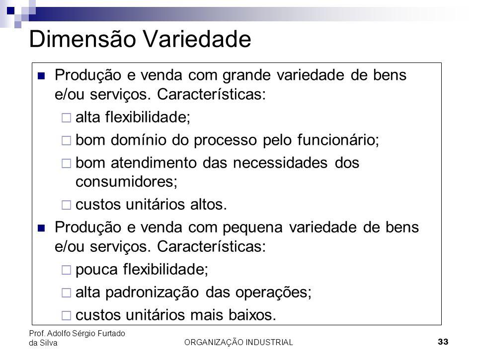 ORGANIZAÇÃO INDUSTRIAL 33 Prof. Adolfo Sérgio Furtado da Silva Dimensão Variedade Produção e venda com grande variedade de bens e/ou serviços. Caracte