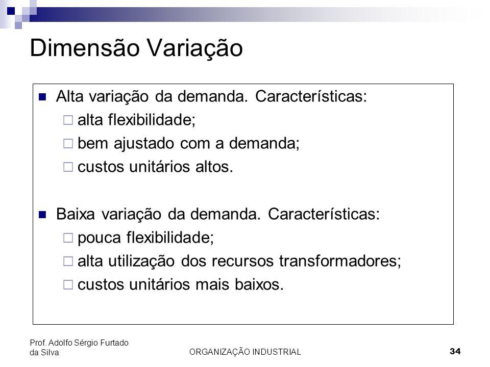 ORGANIZAÇÃO INDUSTRIAL 34 Prof. Adolfo Sérgio Furtado da Silva Dimensão Variação Alta variação da demanda. Características: alta flexibilidade; bem aj