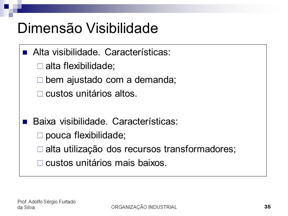 ORGANIZAÇÃO INDUSTRIAL 35 Prof. Adolfo Sérgio Furtado da Silva Dimensão Visibilidade Alta visibilidade. Características: alta flexibilidade; bem ajust