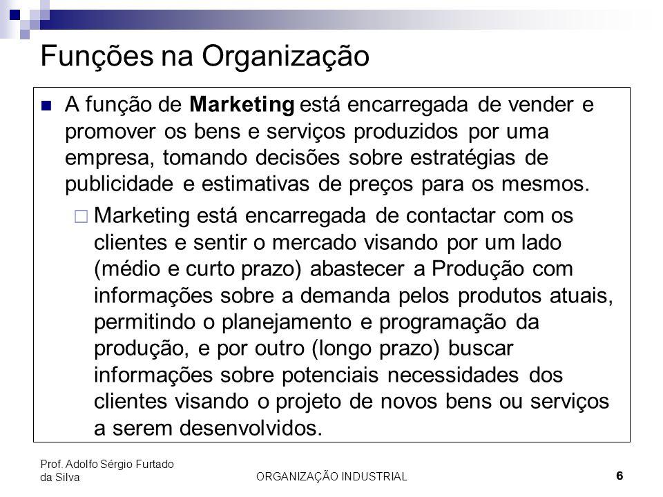 ORGANIZAÇÃO INDUSTRIAL 6 Prof. Adolfo Sérgio Furtado da Silva Funções na Organização A função de Marketing está encarregada de vender e promover os be