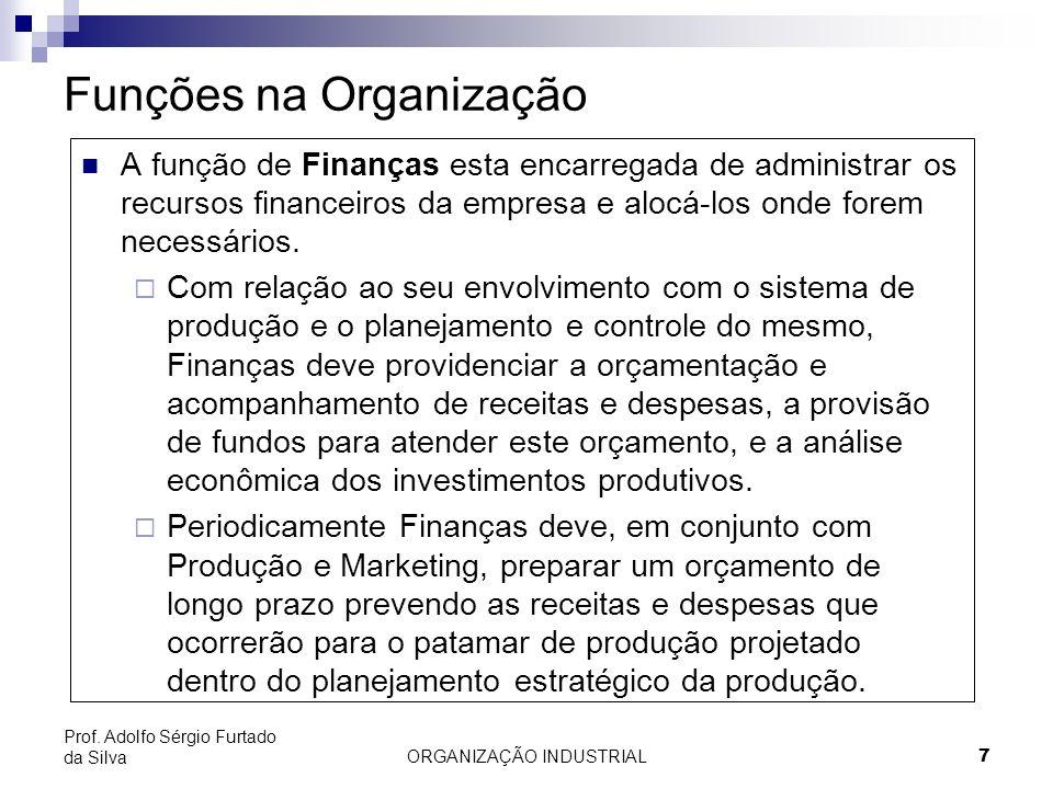 ORGANIZAÇÃO INDUSTRIAL 7 Prof. Adolfo Sérgio Furtado da Silva Funções na Organização A função de Finanças esta encarregada de administrar os recursos