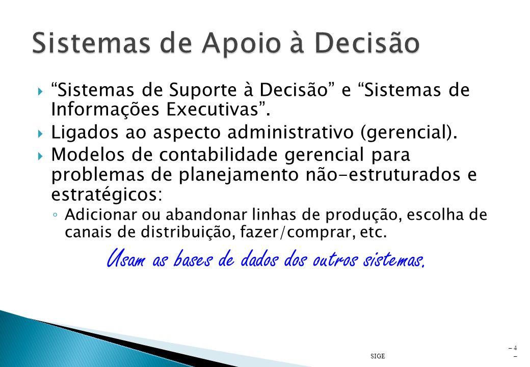 Ligados ao aspecto econômico-financeiro. Usados pelas áreas administrativa e financeira. Auxiliar no planejamento e controle financeiro e avaliação de