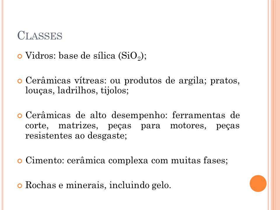 C LASSES Vidros: base de sílica (SiO 2 ); Cerâmicas vítreas: ou produtos de argila; pratos, louças, ladrilhos, tijolos; Cerâmicas de alto desempenho: ferramentas de corte, matrizes, peças para motores, peças resistentes ao desgaste; Cimento: cerâmica complexa com muitas fases; Rochas e minerais, incluindo gelo.
