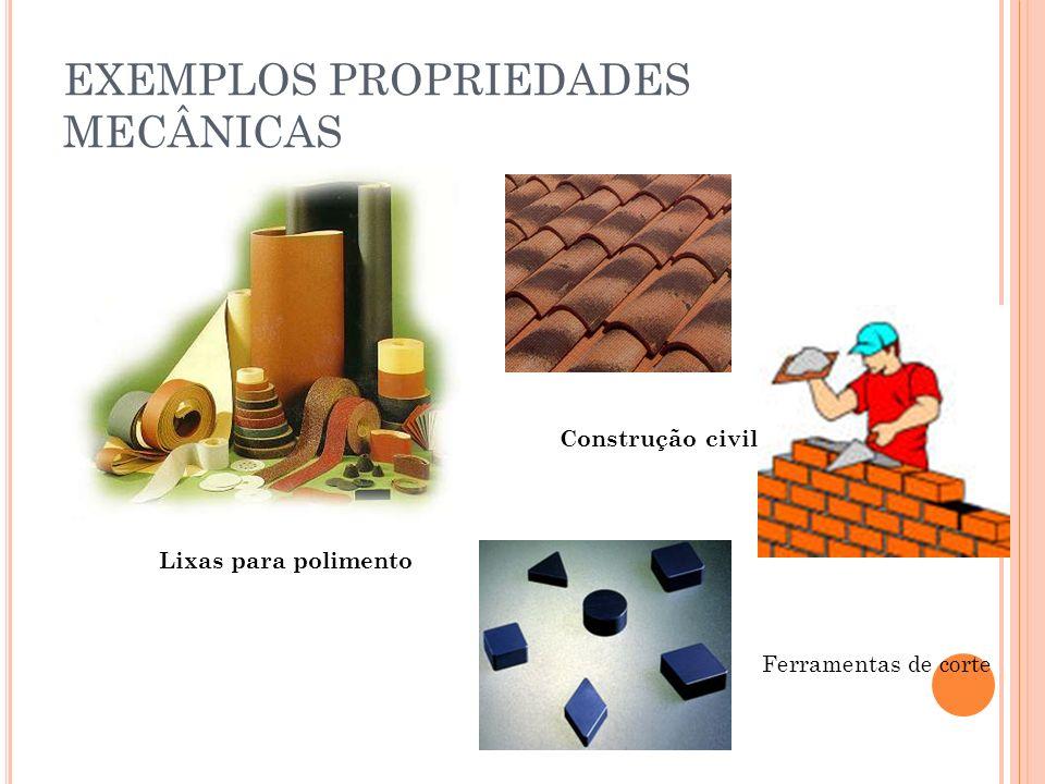 Lixas para polimento Construção civil Ferramentas de corte EXEMPLOS PROPRIEDADES MECÂNICAS