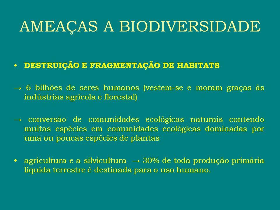 DESTRUIÇÃO E FRAGMENTAÇÃO DE HABITATS 6 bilhões de seres humanos (vestem-se e moram graças às indústrias agrícola e florestal) conversão de comunidade