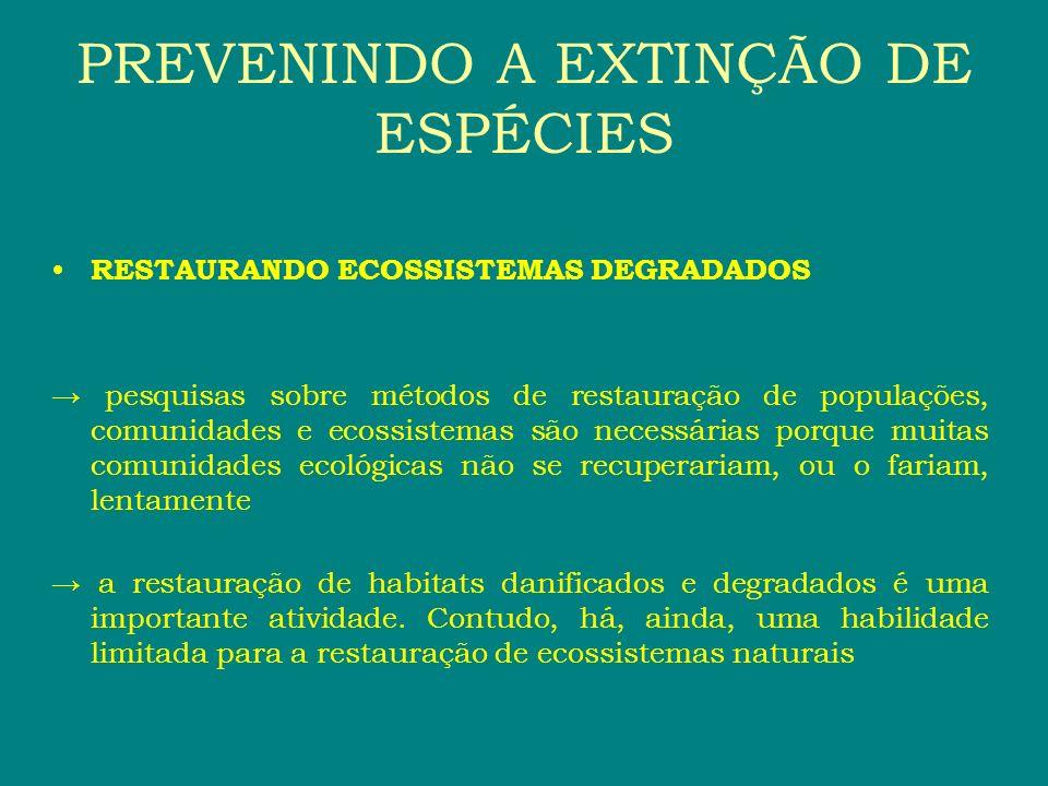 RESTAURANDO ECOSSISTEMAS DEGRADADOS pesquisas sobre métodos de restauração de populações, comunidades e ecossistemas são necessárias porque muitas com
