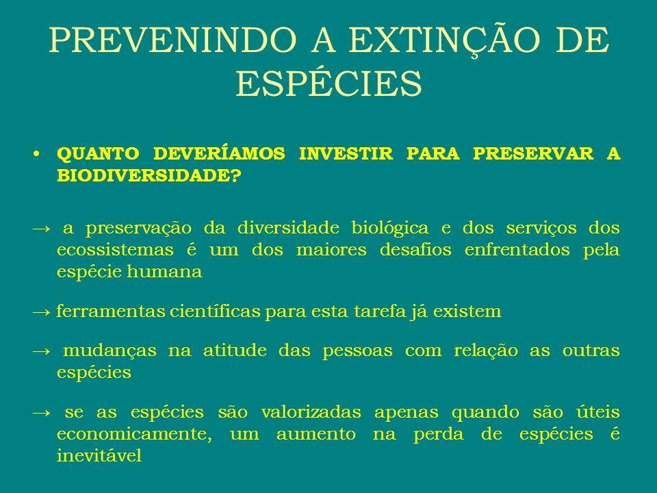 QUANTO DEVERÍAMOS INVESTIR PARA PRESERVAR A BIODIVERSIDADE? a preservação da diversidade biológica e dos serviços dos ecossistemas é um dos maiores de