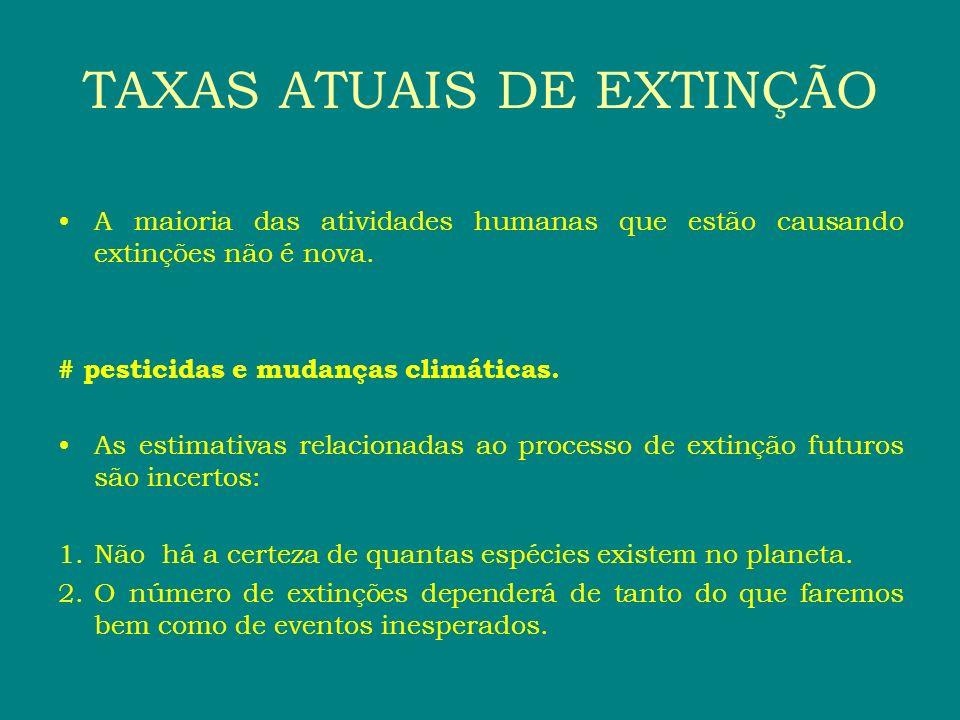 A maioria das atividades humanas que estão causando extinções não é nova. # pesticidas e mudanças climáticas. As estimativas relacionadas ao processo