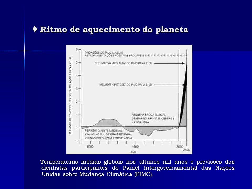 Temperaturas médias globais nos últimos mil anos e previsões dos cientistas participantes do Painel Intergovernamental das Nações Unidas sobre Mudança