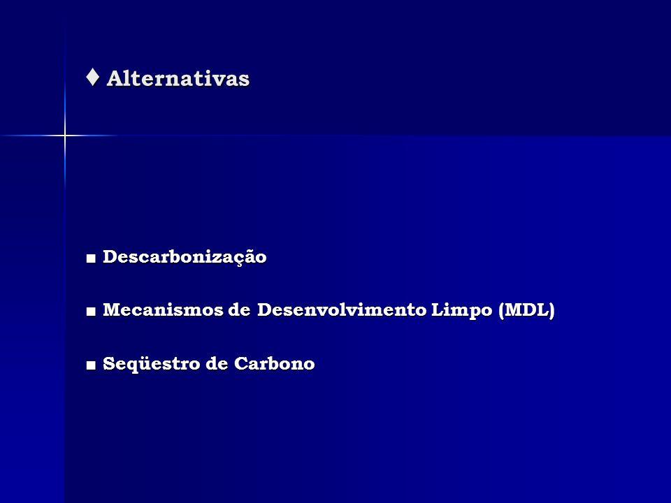 Alternativas Alternativas Descarbonização Descarbonização Mecanismos de Desenvolvimento Limpo (MDL) Mecanismos de Desenvolvimento Limpo (MDL) Seqüestr