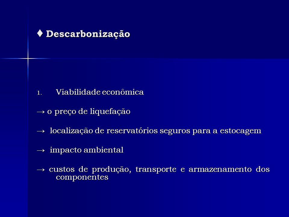 Descarbonização Descarbonização 1. Viabilidade econômica o preço de liquefação o preço de liquefação localização de reservatórios seguros para a estoc
