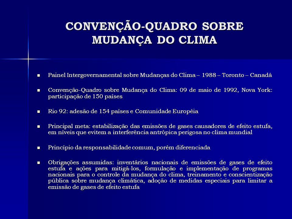 CONVENÇÃO-QUADRO SOBRE MUDANÇA DO CLIMA Painel Intergovernamental sobre Mudanças do Clima – 1988 – Toronto – Canadá Painel Intergovernamental sobre Mu