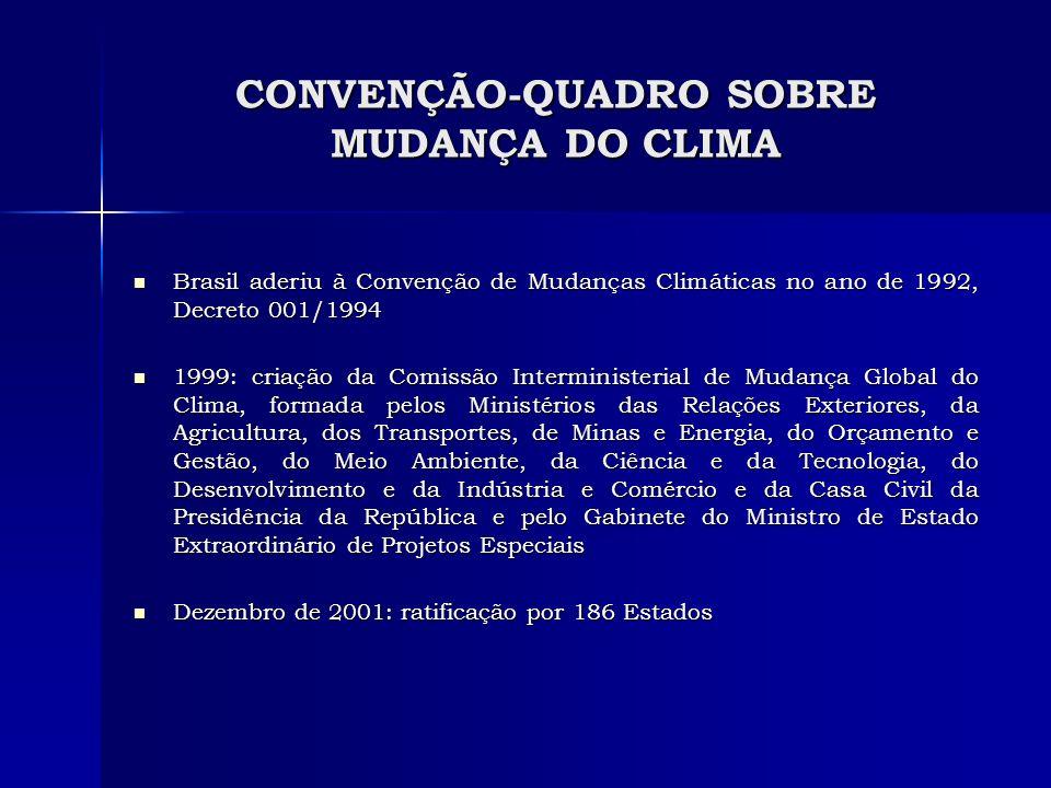 CONVENÇÃO-QUADRO SOBRE MUDANÇA DO CLIMA Brasil aderiu à Convenção de Mudanças Climáticas no ano de 1992, Decreto 001/1994 Brasil aderiu à Convenção de