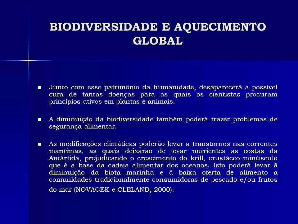 BIODIVERSIDADE E AQUECIMENTO GLOBAL Junto com esse patrimônio da humanidade, desaparecerá a possível cura de tantas doenças para as quais os cientista