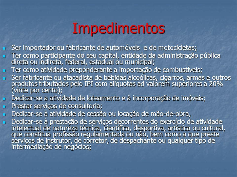 Impedimentos Ser importador ou fabricante de automóveis e de motocicletas; Ser importador ou fabricante de automóveis e de motocicletas; Ter como part