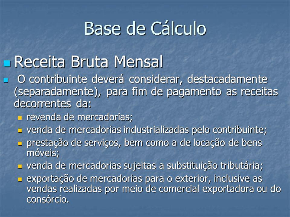 Base de Cálculo Receita Bruta Mensal Receita Bruta Mensal O contribuinte deverá considerar, destacadamente (separadamente), para fim de pagamento as r