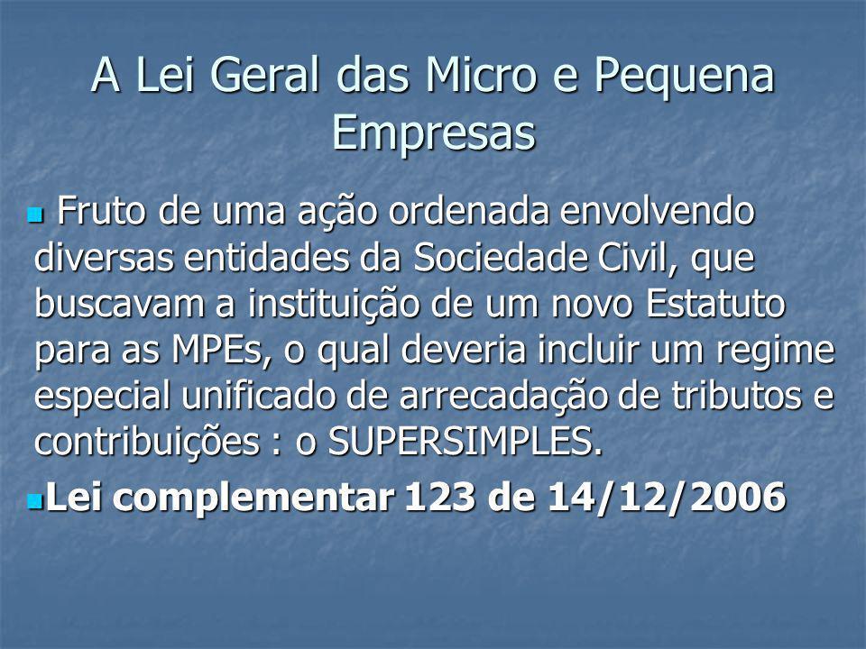 A Lei Geral das Micro e Pequena Empresas Fruto de uma ação ordenada envolvendo diversas entidades da Sociedade Civil, que buscavam a instituição de um