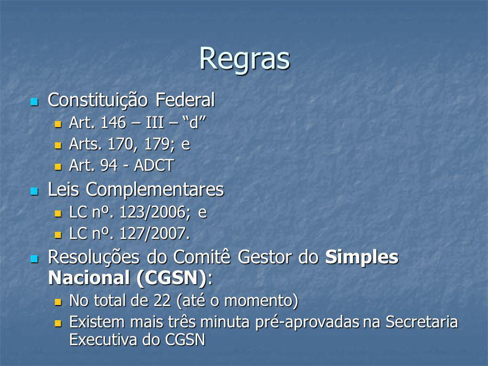 Regras Constituição Federal Constituição Federal Art. 146 – III – d Art. 146 – III – d Arts. 170, 179; e Arts. 170, 179; e Art. 94 - ADCT Art. 94 - AD