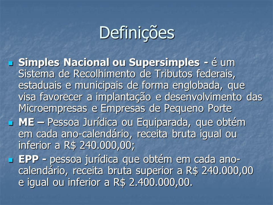 Definições Simples Nacional ou Supersimples - é um Sistema de Recolhimento de Tributos federais, estaduais e municipais de forma englobada, que visa f