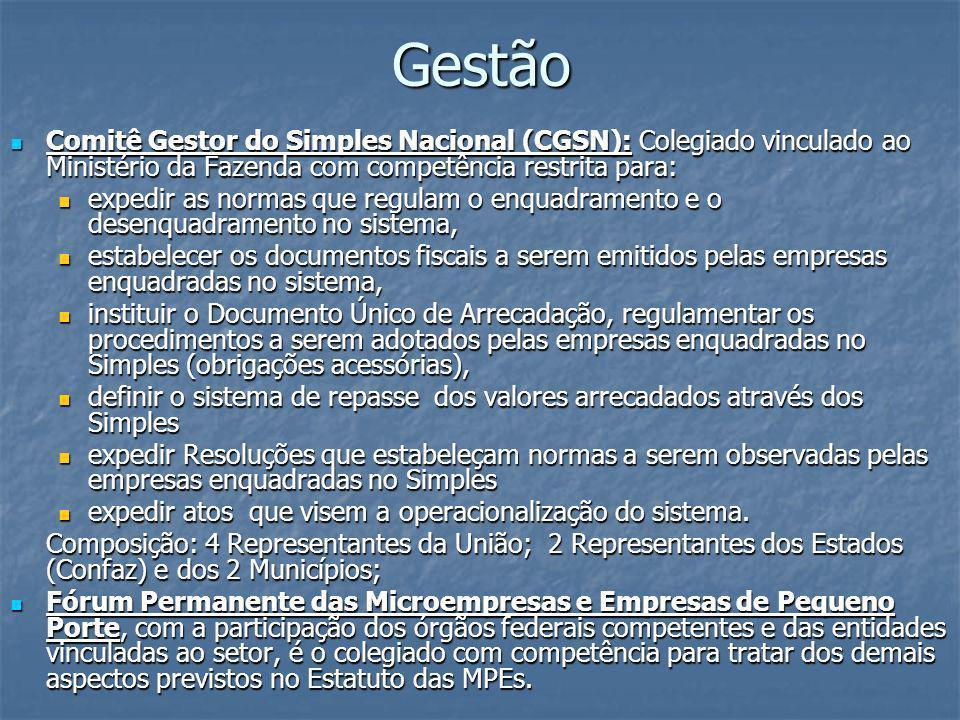 Gestão Comitê Gestor do Simples Nacional (CGSN): Colegiado vinculado ao Ministério da Fazenda com competência restrita para: Comitê Gestor do Simples
