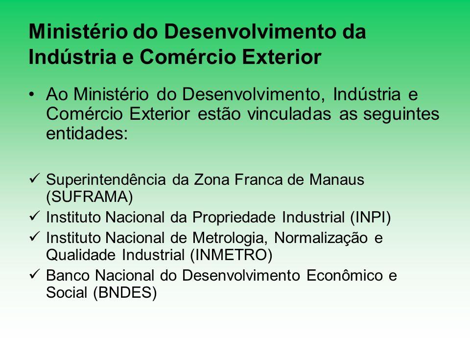 Ministério do Desenvolvimento da Indústria e Comércio Exterior Ao Ministério do Desenvolvimento, Indústria e Comércio Exterior estão vinculadas as seg