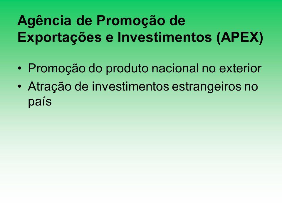 Agência de Promoção de Exportações e Investimentos (APEX) Promoção do produto nacional no exterior Atração de investimentos estrangeiros no país