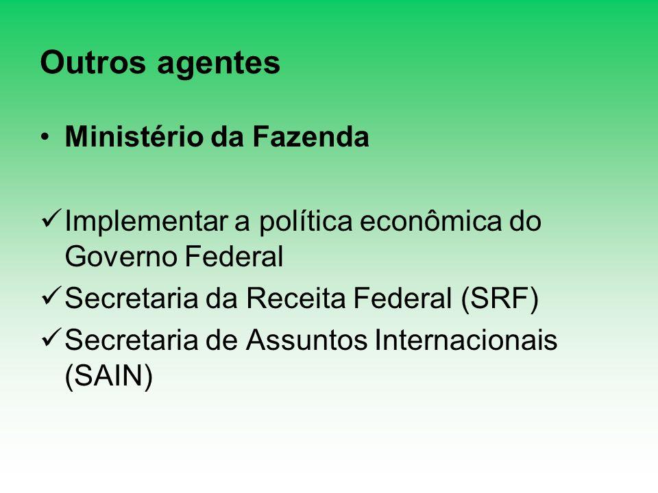 Outros agentes Ministério da Fazenda Implementar a política econômica do Governo Federal Secretaria da Receita Federal (SRF) Secretaria de Assuntos In