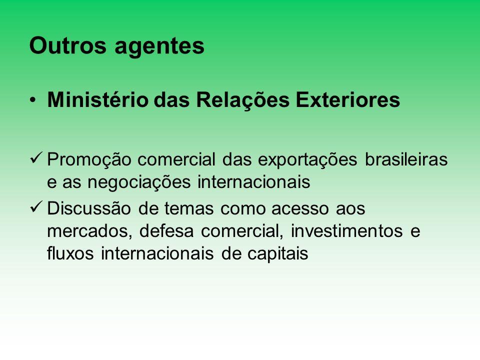 Outros agentes Ministério das Relações Exteriores Promoção comercial das exportações brasileiras e as negociações internacionais Discussão de temas co