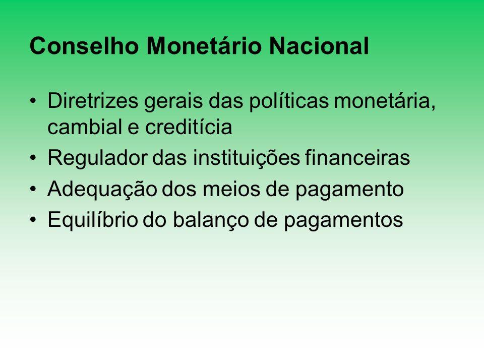 Conselho Monetário Nacional Diretrizes gerais das políticas monetária, cambial e creditícia Regulador das instituições financeiras Adequação dos meios